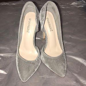 Grey Velvet Heels